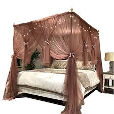Joyreap 4 Corners Post Canopy Bed Curtain for Adults - Royal Luxurious Cozy Drape Netting - 3 Opening Mosquito Net - Cute Princess Bedroom Decoration ...