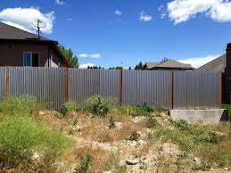 corrugated metal privacy fence image