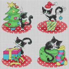Cat Cross Stitch Patterns Fascinating Christmas Cat Cards Cross Stitch Pattern Lucie Heaton Cross Stitch