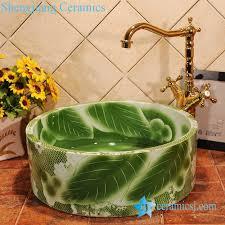 zy 0009 tin wall green leaf design bathroom corner sink