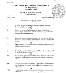 Interior Design Test Questions Interior Design Exam Paper November 2002 Civil
