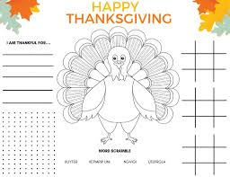 Printable thanksgiving placemat and coloring page will give kids something to do before the meal or between courses. 2021 Printable Thanksgiving Placemat Free Kids Printable