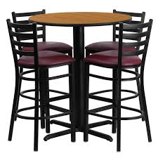 break room lunch room set 30 round natural laminate table set with 4 ladder back metal bar stools burdy vinyl seat