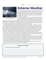 Maybe you would like to learn more about one of these? Sixth Grade Reading Comprehension Worksheet Extreme Weather