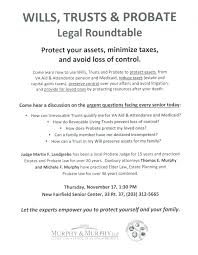 new fairfield senior center roundtable wills trusts and probate announcment 11172016