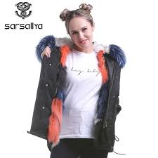sarsallya womens rice rac fur hooded coat parkas outwear long detachable lining winter jacket brand style fox