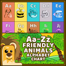 Alphabet Chart With Pictures Friendly Animals Alphabet Chart Lion