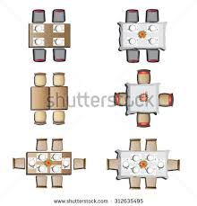 dinner table top view. dining furniture top view set 1 for interior, vector illustration dinner table