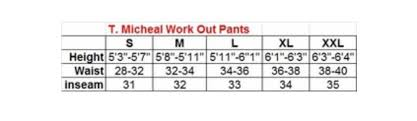 T Micheal Workout Pants Size Chart Bodybeautifulapparel Com