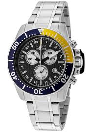 invicta 11280 watches men s pro diver chrono ss black carbon fiber front