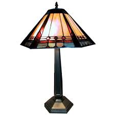 warehouse of tiffany 25 in mission style multicolored brass table lamp