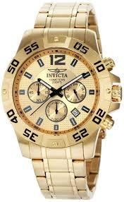 men gold watches invicta men s 1503 chronograph 18k gold ion gold watches men invicta