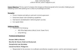 Professional Objective In Resume Example Of Resumes For Jobs Baby Eden