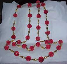 vintage 8 red crepe honeycomb ball gold mercury glass bead garland
