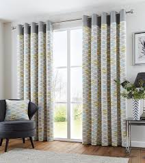 clifton duck egg readymade lined geometric print eyelet ring top cotton curtains 66