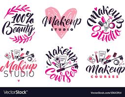 makeup studio and courses logo set vector image
