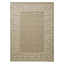 faux natural greek key indoor outdoor rug 9x12 angora gray