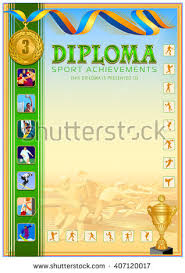 sport diploma blank colorful icons stylized stock vector  sport diploma blank colorful icons stylized icons running athlete composition on the background