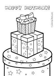 Gift boxes for birthday happy birthday coloring pages for kids printable