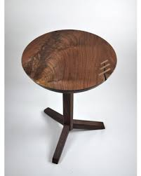 walnut end table. Walnut Pedestal Table Mid Century Modern Round Black End Tripod Base
