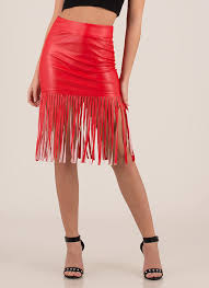edged out fringed faux leather skirt red