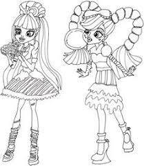 Small Picture Clawdeen wolf and Cleo Monster High Coloring Pages Haunted