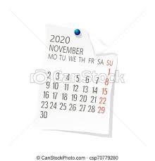 November 2020 Calendar Clip Art 2020 November Calendar