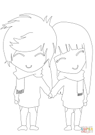 Small Picture Anime Boy and Girl coloring page Free Printable Coloring Pages