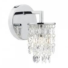 niagra contemporary decorative wall light in chrome with crystal droplets