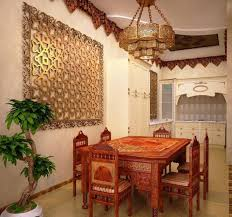 Furniture:Traditional Moroccan Dining Room With Brown Mororcan Decor Dining  Table And Brown Dining Chairs