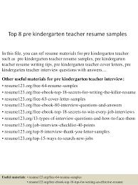 Kindergarten Teacher Resume Top 8 Pre Kindergarten Teacher Resume Samples