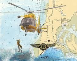 Paintings On Nautical Charts Us Coast Guard Rescue Swimmer Cathy Peek Nautical Chart Map Art