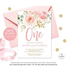 1st Birthday Party Invitation Template Editable Blush Pink Floral Babys First Birthday Party Invitation Printable Baby 1st Birthday Invitation Template Girl One Mcp821 Cjb