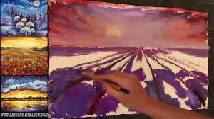 free oil painting lesson in real time lavander field on sunset you