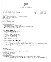 Sample College Resumes College Resume Samples For High School Senior