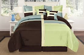 luxurious quilted sage green aqua blue brown patchwork comforter bedding set