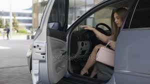 Auto Mobile Office Attractive Business Woman Getting Out Of Automobile And Walking To Office