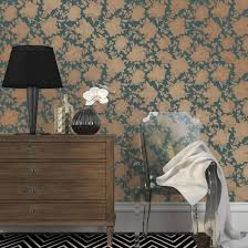 Awesome Silhouette Peacock Blue Gold Self Adhesive Wallpaper Home Accessories By |  Art.com