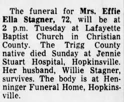 Effie Armstrong Stagner Obit, appeared in 27 Apr 1965 issue of  Courier-Journal (KY) - Newspapers.com