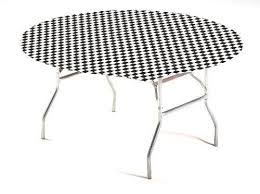 creative converting round stay put plastic table cover 60 inch black check