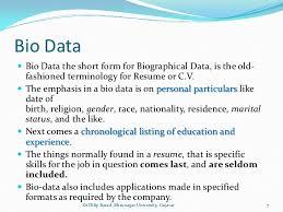 Best Of Meaning Of Bio Data Three Blocks