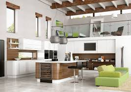 White Stained Wood Kitchen Cabinets Transparent Glass Window Brown Varnished Wood Counter Top White