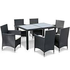 leisure zone 7 pieces luxury garden dining table and chairs outdoor rattan furniture set with rectangular