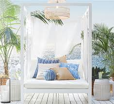 White outdoor furniture Green Indio Metal In White Patio Furniture At Home Patio Furniture Outdoor Furniture Outdoor Decor Pottery Barn