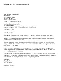 Sample Cover Letter For Front Office Representative