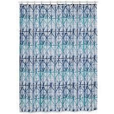 shibori geometric shower curtain in indigo bed bath beyond geometric shower curtain