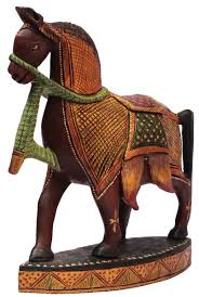 bulk whole 12 hand carved kadam wood statue sculpture of horse painted