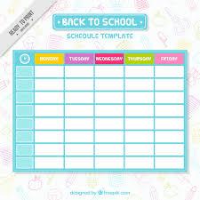 school schedule template simple school schedule template vector free download