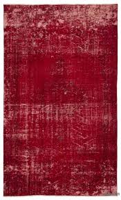 red over dyed turkish vintage rug 5 6 x 9 3 66 in x 111 in