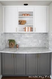 twotoned gray and white cabinets marble subway tile carrara countertops a tile kitchen countertops cabinets64 cabinets